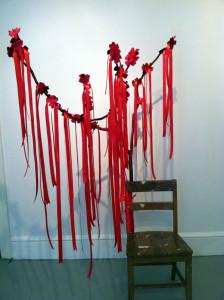 """Carole Loeffler, daydreaming, 2013, 73""""x56""""x25"""", school chair, felt, ribbon"""