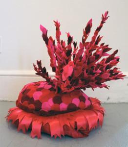 """Carole Loeffler, grasp, clinch, clasp, embrace, 2014, 23""""x20""""x22"""", foam, felt, glue, fabric, polyfill, ribbon"""